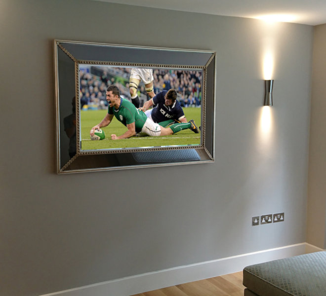 No35 bespoke silver TV Mirror rugby