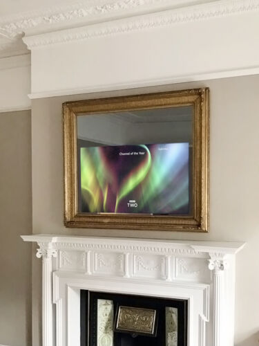2020_Overmantels_Toseroni_Antique Picture Frame TV Mirror ON