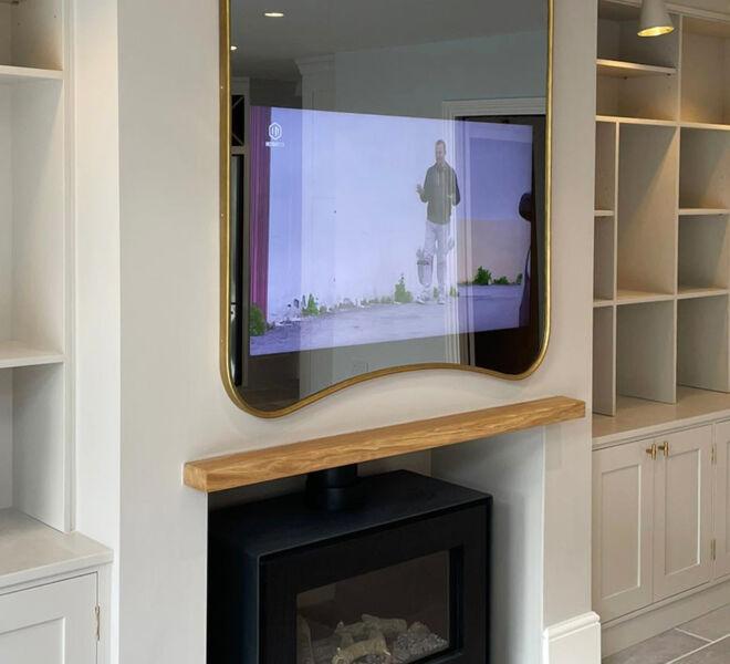 No69 Slimline Curvy Recessed TV Mirror ON 2