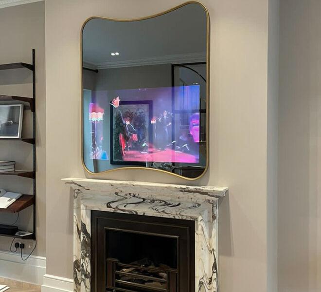 No69 Slimline Curvy TV Mirror over recess - ON